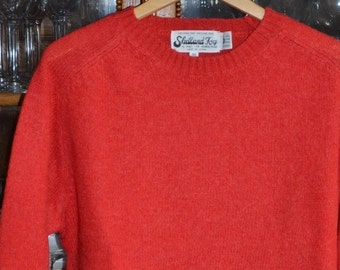 Vintage Shetland Wool Pullover Sweater, Red, size 44