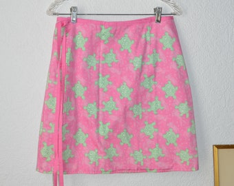 SALE Lilly Pulitzer wrap skirt, pink and green turtle pattern, size 12