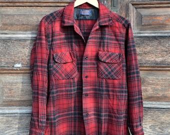 Vintage Pendleton wool shirt, 1960's, men's L, red and black plaid