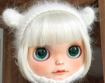 Blythe Hat - Mink cashmere wool hat - Snow white