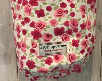 Red AsianOriental Patterned Cotton Fabric Bag Dispenser Tidy Multipurpose - Discreet Sanitary Product Holder etc...
