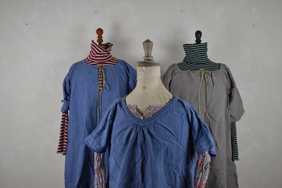 Antique French linen chemise dyed faded indigo blu