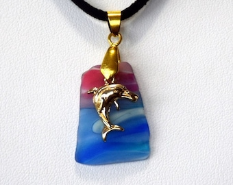 Golden dolphin on cultured sea glass necklace.  Free shipping in USA