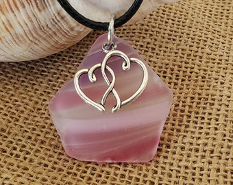 Double hearts on Oregon cultured sea glass necklace