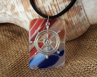 Ships wheel on multi cultured sea glass unisex necklace