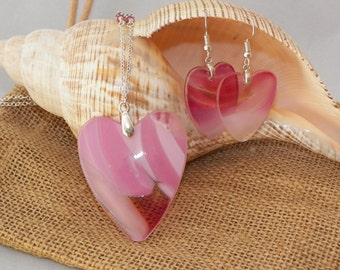 You own my heart, pink and fuchsia hand blown glass heart and earrings set.