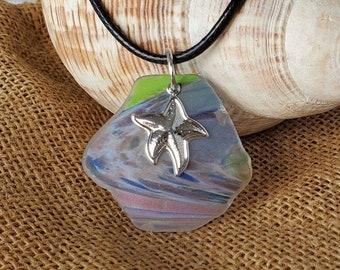 Silver Sea Star *Star Fish* On Cultured multicolored Sea Glass.