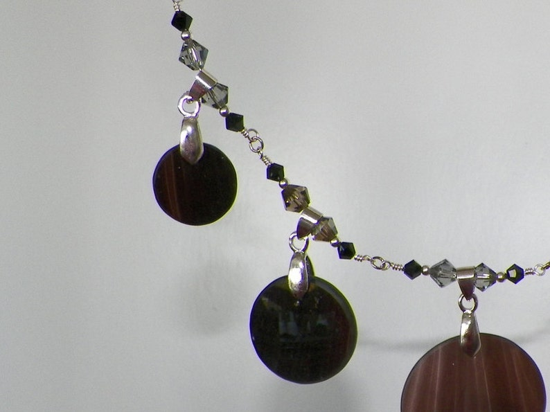 Black blown glass bib necklace and earring set