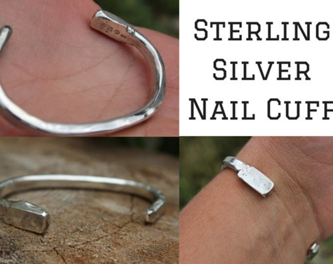 Featured listing image: Mens Nail Bracelet, Sterling Silver Cuff, Custom Handmade, Raw, Organic, Hand Forged Copper or Sterling Nail, Hammered, Nautical, Historical