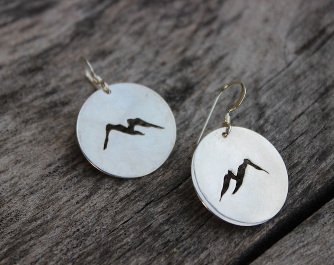 Featured listing image: Mountain Earrings, Sterling Silver or Copper, Hiking Gift, Adventure Jewelry, Large Dangles, Minimalist, Handmade