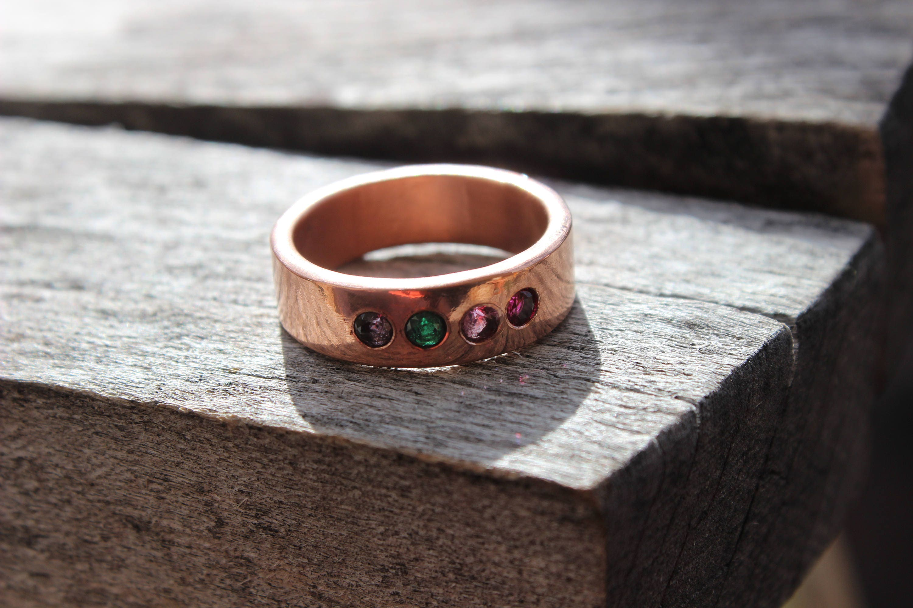 Family Birthstone Copper Ring 7 Year Anniversary Gift Men Women Reclaimed Recycled Handmade Copper Ring Rustic Minimalist Ring & Family Birthstone Copper Ring 7 Year Anniversary Gift Men Women ...