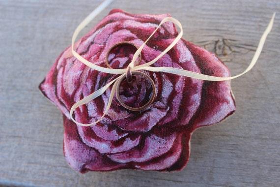 Rose Wedding Ring Pillow, Ring Bearer, Garden Wedding, Natural Wedding, Nature Wedding, Hand Painted, Eco Wedding Decor, Your CUSTOM Colors