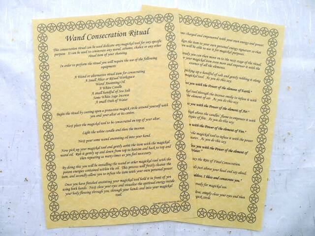 Wand Consecration Ritual A4 Parchment poster wicca pagan book of shadows  BOS two pages