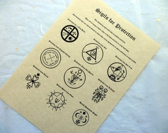 PROTECTION SIGILS PARCHMENT poster wicca pagan print book of shadows pages bos