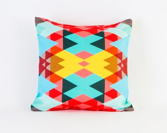 Geometric 3D Throw Pillowcases By Pencil Me In // Red Pink Yellow Emerald  Blue Mint Triangle