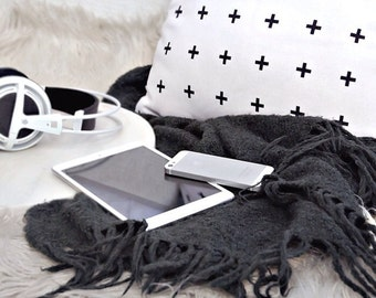Black Cross Plus on White Throw Pillowcase By Pencil Me In