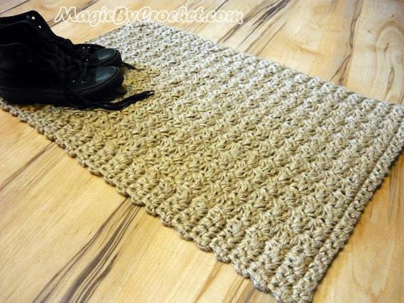 Fußmatte Jute Teppich Fußmatte Willkommen Teppich häkeln | Etsy