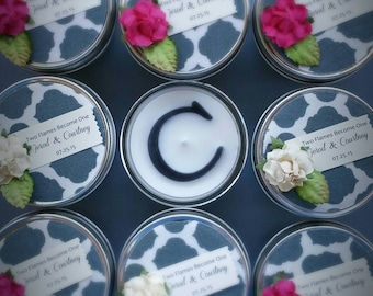 Gray Wedding Favors | 20 4oz soy candles | wedding shower favors | Personalized Wedding Favor | cream | fuchsia | regal wedding favors