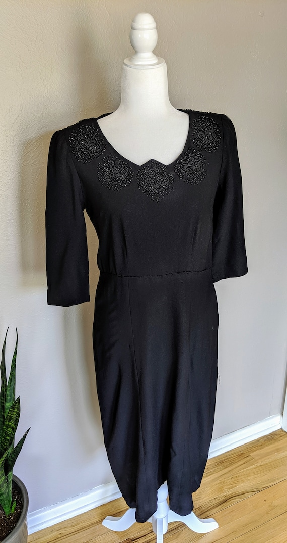 Femme Fatale 1940's Beaded Black Dress