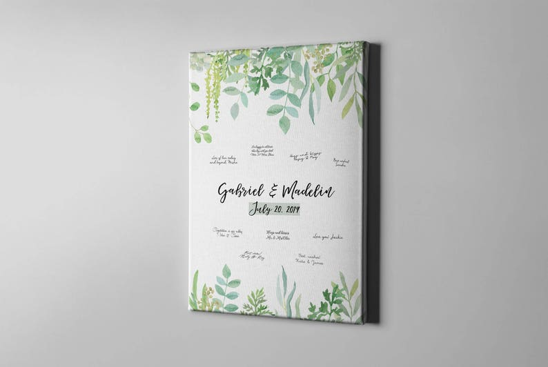 Garden Wedding Gift Idea -CGB188 SALE 50/% Off Canvas Guest Book Greenery Leaves Guest Book Alternative Summer Foliage Signature GuestBook