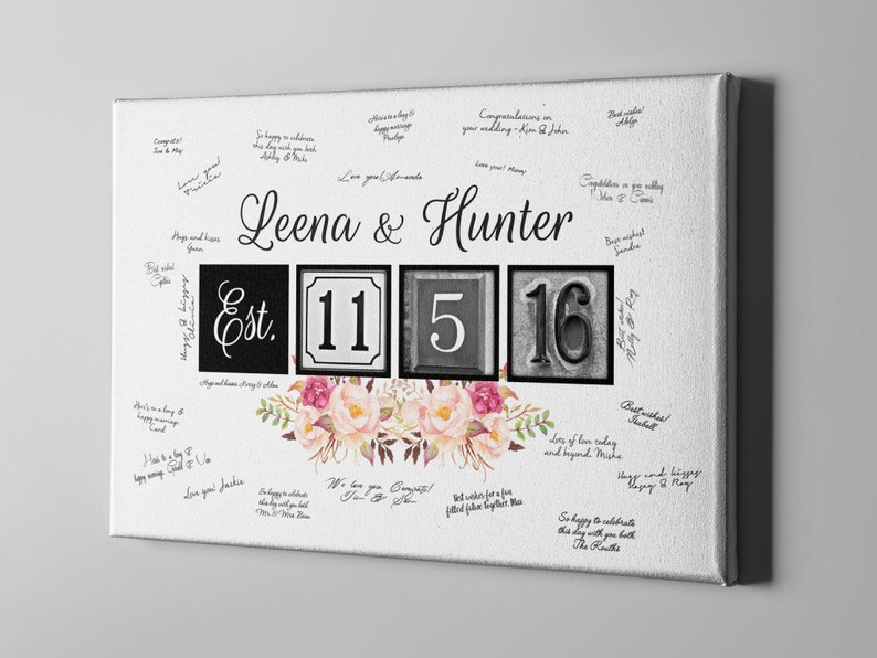 Bridal Shower Gift Ideas for Bride to be SALE 50/% Off Canvas Guest Book Wedding Canvas Guest Book Elegant Boho Floral Guest Book CGB24