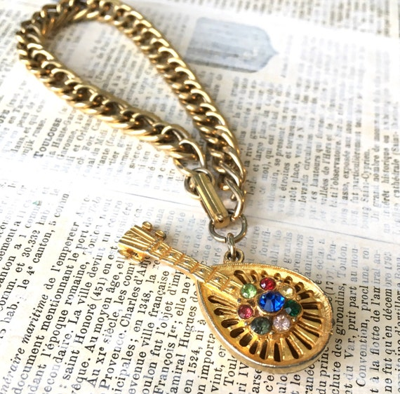 Vintage Rhinestone Charm Bracelet - Goldtone Mandolin Figural Multi