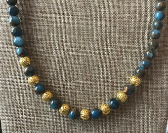 Aquamarine beaded necklace with gold plated brass clasp