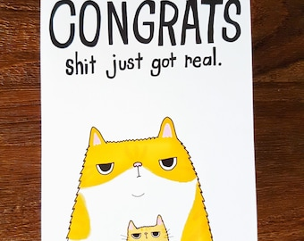 New Baby Grumpy Cat card // Congratulations New Baby card // Funny New Baby card // New parent card // Grumpy Cat Congratulations card