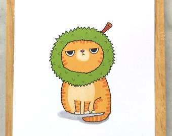 Silly Cat Fruit Postcard // Silly Grumpy Cat Postcard