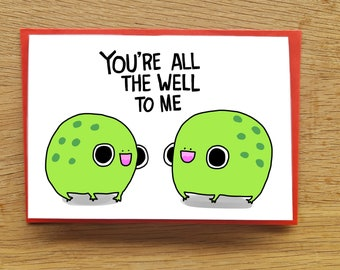 Frog love card // all the world to me // all the well to me // frog valentines card