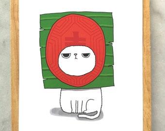 Silly Cat Dessert Postcard // Silly Grumpy Cat Postcard