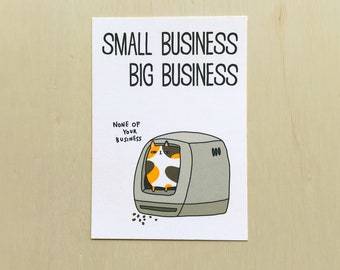 None of Your Business Postcard // Funny toilet postcard