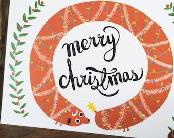 Silly Christmas Card // Silly Dachshund Christmas Card // Sausage dog Christmas Card // Dog Wreath Christmas Card