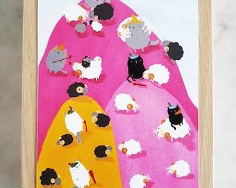 Cats and Sheep Postcard // Cute Cat Postcard