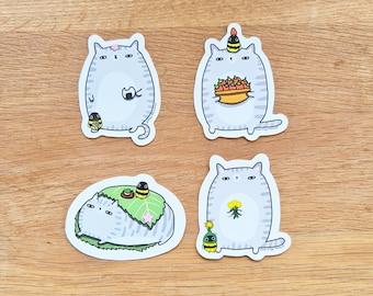 Sakura Cat Sticker // Cat and Bee Sticker // Sakura season cat stickers