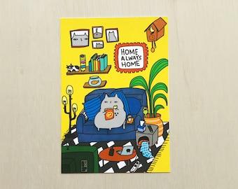 Home Always Home Cat Postcard // Pandemic Postcard // Covid Postcard // Lockdown postcard