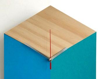 Cube Clock  •  Wood | Blue | Turquoise