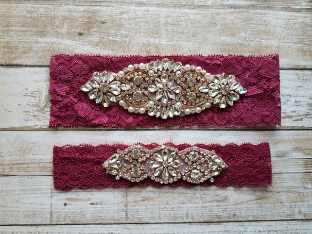 Sale -Wedding Garter and Toss Garter-Crystal Rhinestone with Rose Gold Details -WINE Lace - Style G20903TRGTWD