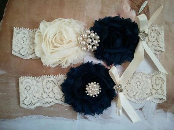SALE - Bridal Garter, Wedding Garter and Toss Garter - Ivory/Navy Garter Set with Pearl & Rhinestone - Style G218