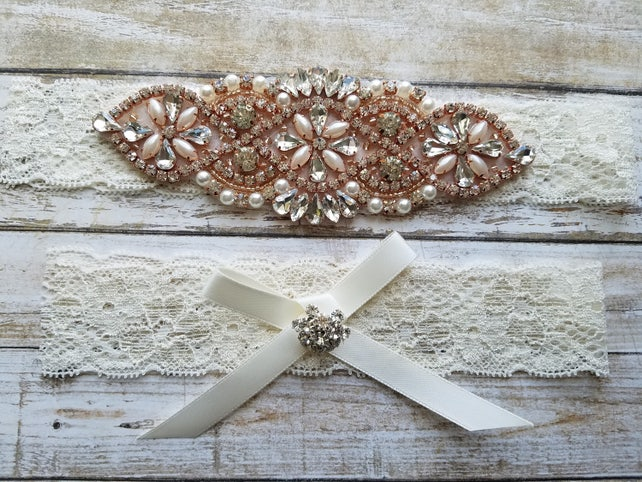 Sale -Wedding Garter and Toss Garter-Crystal Rhinestone with Rose Gold Details - IVORY Lace - Style G20912TRG