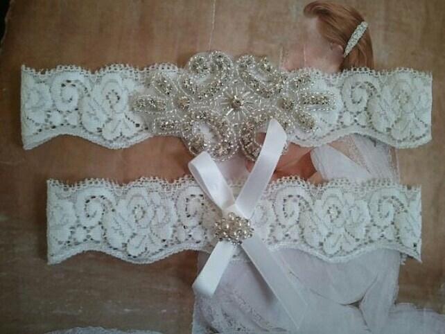 Bridal Garter, Wedding Garter and Toss Garter - Pearl & Crystal Rhinestone Garter Set on a White Lace - Style G242