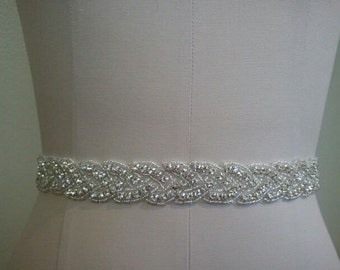 SALE - Wedding Belt, Bridal Belt, Sash Belt, Crystal Rhinestone Sash - Style B70022