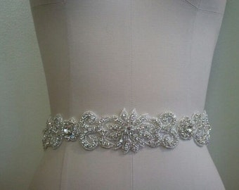 SALE - Wedding Belt, Bridal Belt, Sash Belt, Crystal Rhinestone Sash - Style B70013