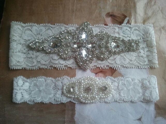 Wedding Garter Set - Pearl and Rhinestone Garter Set on a Ivory Lace Garter Set  - Style G20078