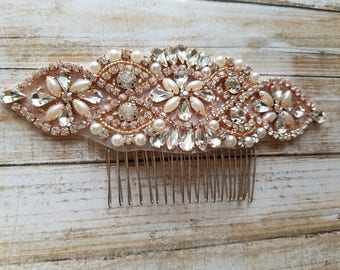 Wedding Hair Comb - Rhinestone with Rose Gold Details - Style H17060