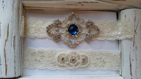 Wedding Garter, Bridal Garter, Garter  Set - Something Blue on a Ivory Lace with Rhinestone - Style G2033B2
