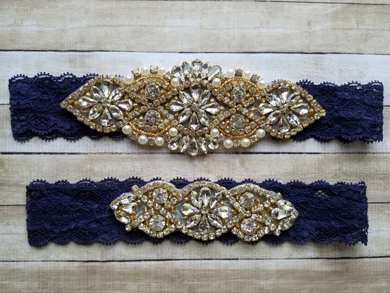 Sale -Wedding Garter and Toss Garter-Crystal Rhinestones & Pearls with GOLD Setting - Style G37008G