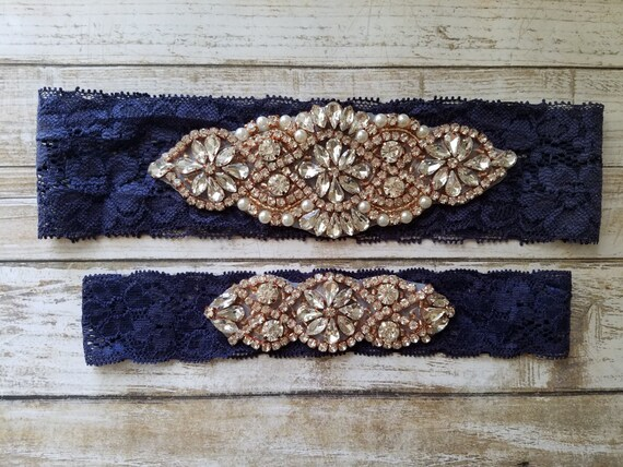 Sale -Wedding Garter and Toss Garter-Crystal Rhinestone with Rose Gold Details - Navy Blue Lace - Style G20903RGNV