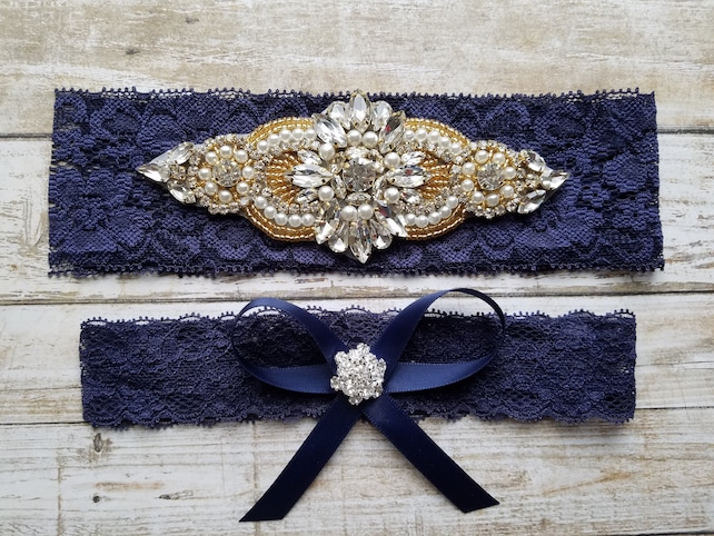 Sale -Wedding Garter and Toss Garter-Crystal Rhinestones & Pearls with GOLD Setting - BLUSH Garter Set - Style G37002GW
