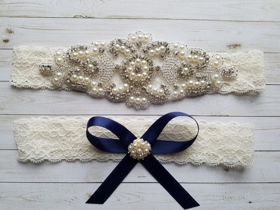 SALE - Something Blue Wedding Garter, Bridal Garter, Garter Set - Crystal Rhinestone & Pearls - Style G8001NIVO